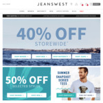 Jeanswest 40% off Storewide (Online & In Store)