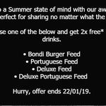 2 Free 600ml Soft Drinks with Purchase of Bondi Burger, Portuguese, Deluxe Portuguese, or Deluxe Feed @ Oporto
