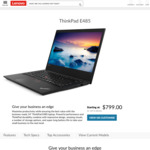 "ThinkPad E485 (14""FHD/Ryzen 5/8GB/256GB) $799; E585 (15.6""FHD/Ryzen 5/8GB/256GB) $849 (Stacks With 12% CB ShopBack) @ Lenovo AU"