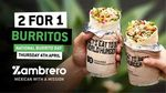 2 for 1 Burritos Nationwide @ Zambrero - 4th April