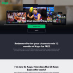 Get Your First Month of Kayo for $5 (New Kayo Customers Only)