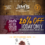 20% off Jerky/Biltong (Excludes Value Packs and Delivery Fee) @ Jim's Jerky