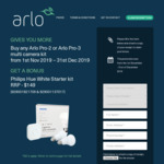 Bonus Philips Hue White Starter Kit with Purchase of Selected Arlo Pro-2 or Arlo Pro-3 from Participating Retailers