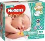 Huggies Ultimate Nappies, Size 1 Newborn 108 Count $22.00 (in Store/C&C or $9 Delivery) @ Baby Bunting