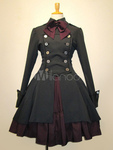 Gothic Lolita Dress OP Military Style Black Cotton Double Breasted Button AU $77.86 Shipped @ Lolitashow