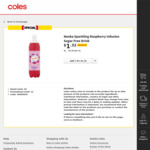 Nexba Sparkling Raspberry Infusion Sugar-Free Drink 1L Half Price $1.32 @ Coles