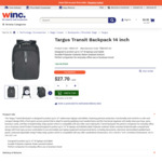 "Targus 14"" Transit Laptop Backpack $27.70 + Delivery @ Winc"