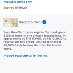 AmEx - The Iconic: Spend $100 or More, Get $15 Back