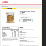 Roasted and Salted Cashews, $12 for 800g ($15/kg) @ Coles