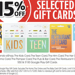 15% off Nintendo eShop, The Kids/Teen/Him/Her/Cinema/Pamper/Pub/Bar/Restaurant and Google Play Gift Cards @ Coles