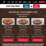 [QLD, NSW] Large Value/Traditional/Premium Range Pizzas From $3/ $5/ $7 Each Pick up @ Domino's (Selected Stores)