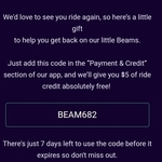 [ACT, SA] Beam $60 Credit to Existing Users @ Beam
