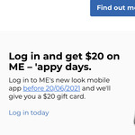 Free $20 Gift Card for Logging into the New ME Mobile App @ ME Bank