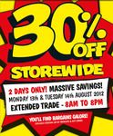 30% off Storewide. Spotlight (13/08 to 14/08/2012) - 2 Days Only!