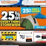 25% off Storewide Includes All Camping, Hiking, Kayaking, Fishing, Biking & Clothing @ Anaconda