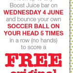Boost Juice - Free Drink When You Bounce a Ball on Your Head 5 Times