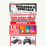 15% off iTunes Cards at EB Games