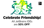 50% of any JetBrains IDE (e.g. IntelliJ IDEA Ultimate US$74.50/Yr. IDE's incl PyCharm, WebStorm, ReSharper, RubyMine)