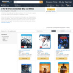 Amazon - 3 for $40 Selected Blu-Ray Titles. Some Titles from $6.98 (Free Delivery for Prime Members)