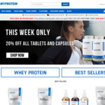 20% off Whole Order + $9.99 Delivery (Usually $20) + Gift (With $100 Spend) @ MyProtein