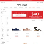 Selected Shoes/Sizes (5, 5.5, 10, 10.5, 11, 12) $40 a Pair + $10 Shipping (Free over $100) @ Nine West Outlet