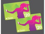 Myer 2x $20 Apple iTunes Gift Cards for $30.00