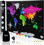 Large Colour Scratch off World Map (82cm X 54cm) $14.99 (Was $23.79) + Delivery ($0 with Prime/ $39 Spend) @ Willow Amazon AU