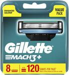 Gillette Mach 3+ Refill Cartridges 8 Pack $2.69 C+C (or + Delivery) @ Chemist Warehouse
