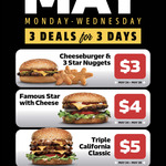 [QLD, NSW, SA, VIC] Daily May Deals $3- $5: Every Monday to Wednesday in May via MyCarl's App @ Carl's Jr