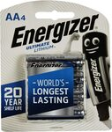 Energizer Ultimate Lithium AA 4 Pack $15.98 + Delivery ($0 with Prime/ $39 Spend) @ Amazon AU