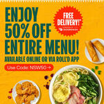 [NSW] 50% off Entire Menu (Excludes Meal Deals) + Free Delivery on Orders over $20 @ Roll'd