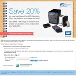 Cheap WD HDDs at WD Education Store - 20% off and Free Shipping for Students and Staff