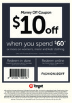 $10 off When You Spend $60 (Men/Women/Kids' Clothing) - Target