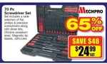 Mechpro 70 Pc Screwdriver Set $24.99, GV Tools 204 Pc Tool Kit $89 + More @ Repco