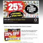 Autobarn - 25% off Batteries & Spare Parts This Weekend (Aug 1-2)