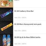 7-Eleven - $2.50 Pies, $1 Oreo Chocolate Bar, $3 500ml Up & Go, $1 Mars Twin Honeycomb