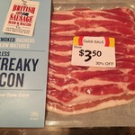 Streaky Bacon 200g $3.50 (Half Price) by The British Sausage Ham & Bacon @ Coles Charlestown Square NSW