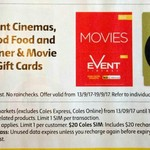 10% off Gift Cards - Events Cinemas, Goodfood, Dinner & Movie, Free Optus $2 SIM with Any Purchase @ Coles (Starts 13/9)