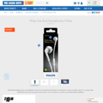 Philips Ear Bud Headphones White SHE3205 $10 ($9.5 OW Pricebeat)| Philips in-Ear Bud Black $5 (Click & Collect) @ The Good Guys