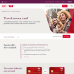 $50 Cashback When Ordering a New Travel Money Card (Min. AUD $3,000 Load in Foreign Currency) @ Westpac