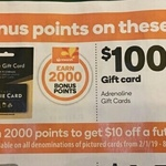 2000pts (Worth $10) with $50 Google Play & Movie Gift Cards | 4000pts (Worth $20) with $100 Adrenaline Gift Card @ Woolworths