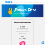 Lebara Medium Plan – 180 Day $120 24GB Monthly Data and Unlimited Calls to 15 Countries (New or Existing Customers)