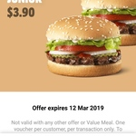 2 Flame-Grilled Whopper Junior $3.90 via App Vouchers @ Hungry Jack's