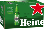 Heineken Lager Bottles 330mL x 24 for $30 @  BWS
