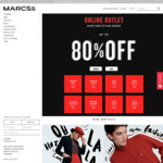 Up to 80% off Online Outlet (e.g. Men's Tees from $14, Women's Tees from $19 + More) @ Marcs