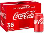Coca-Cola Classic Soft Drink Multipack Cans 36x 375ml $22.50 + Delivery ($0 with Prime/ $39 Spend) @ Amazon AU