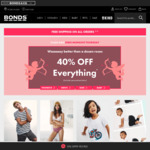 40% off Everything (Excludes Personalised Items) @ Bonds