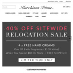 Murchison-Hume Relocation Sale: 40% plus discount + Free 4xHand Creams and shipping if >$80