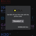 $20 off Your First Ride @ Ola