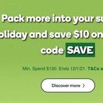 $10 off with $150 Min. Spend (Online Only) @ Woolworths